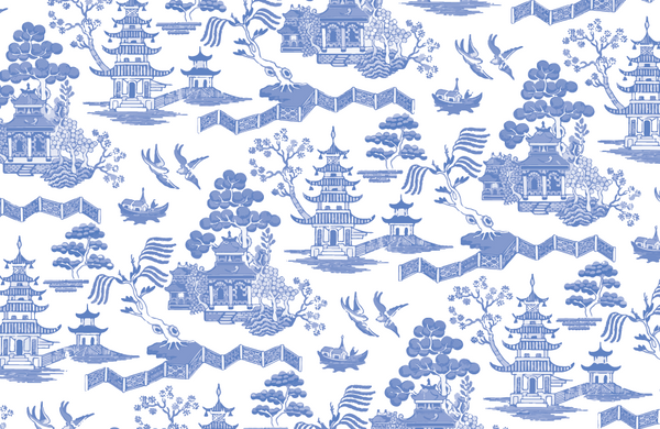 Blue Chinz Toile Paper Placemat