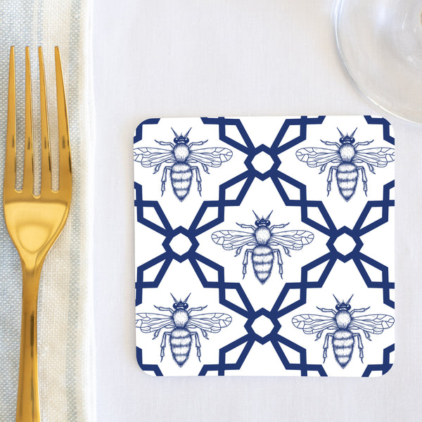 Blue Melissa Bee Coaster (set of 24) in Gift Box