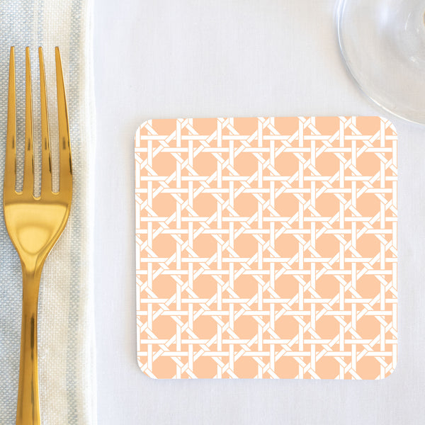 Peach Cane Coaster (set of 24) in Gift Box