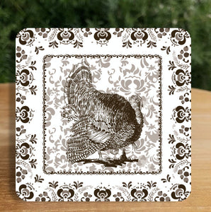 Chinoiserie Thanksgiving Coaster in Chesnut (set of 24) Gift Box