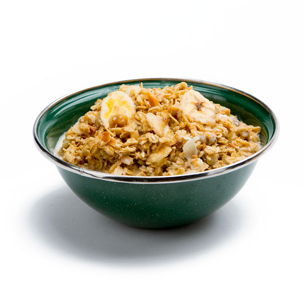 Granola with Bananas, Almonds & Milk Prepared
