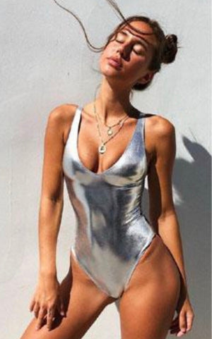 metalic silver chrome swimsuit bodysuit plunging  top shiny