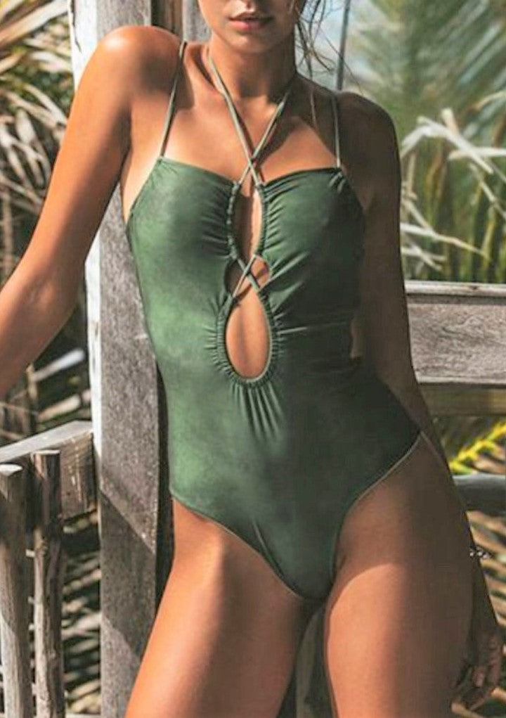 sexy one piece swimsuit crisscross plunge front open back green