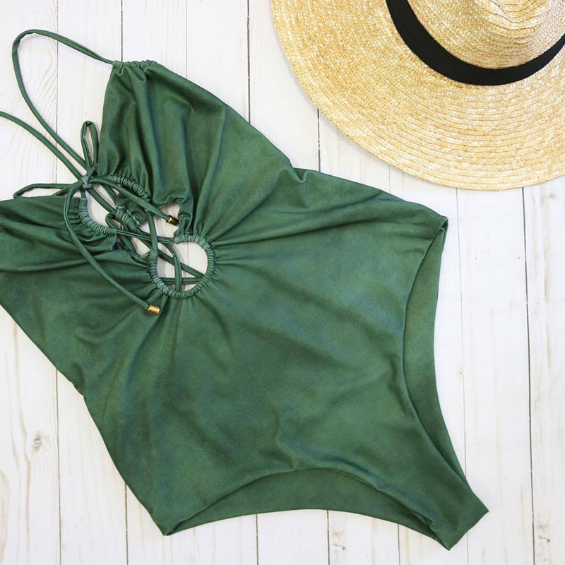 sexy one piece wimsuit crisscross plunge front open back green