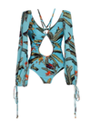 luxury designer one piece bodysuit swimsuit long sleeve blue