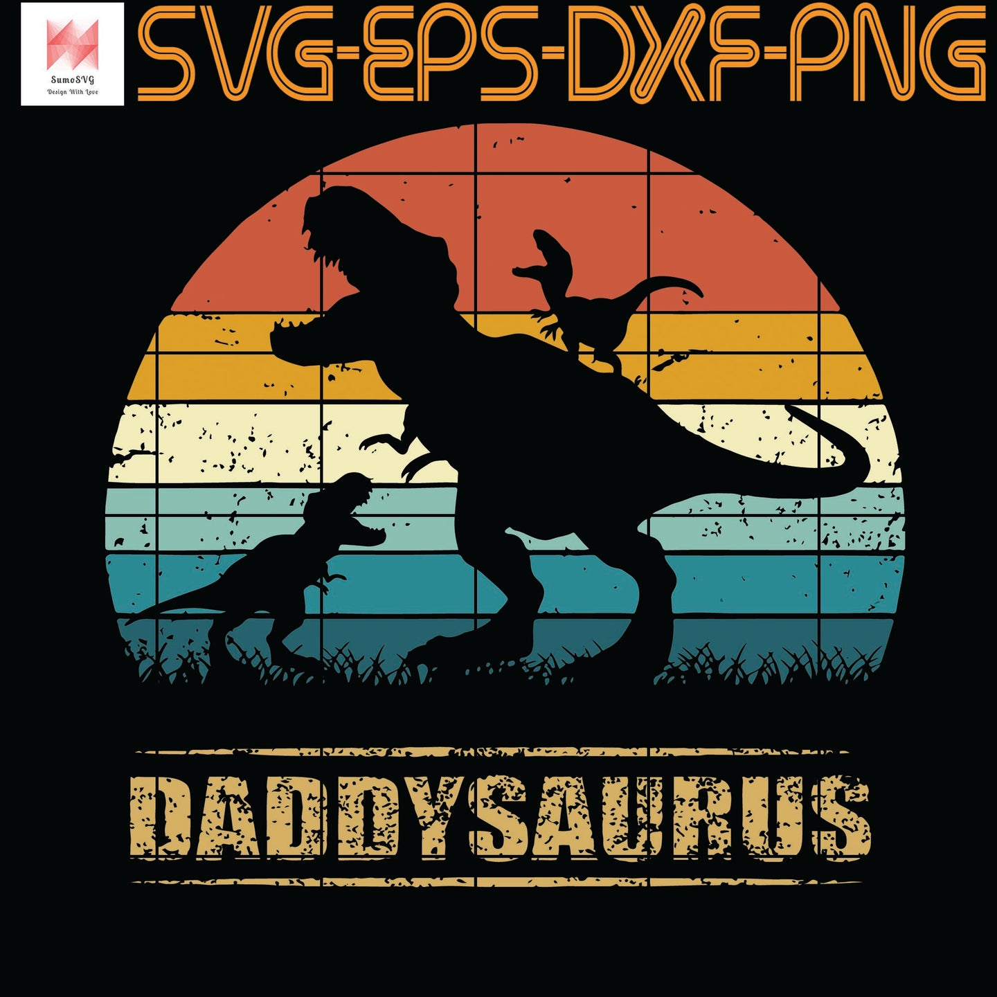 Daddy Dinosaur Daddysaurus 2 Two kids Gift For Dad, Quotes, Funny Quotes, Cameo, Cricut, Silhouette, SVG, PNG, Eps, DXF, Digital Download