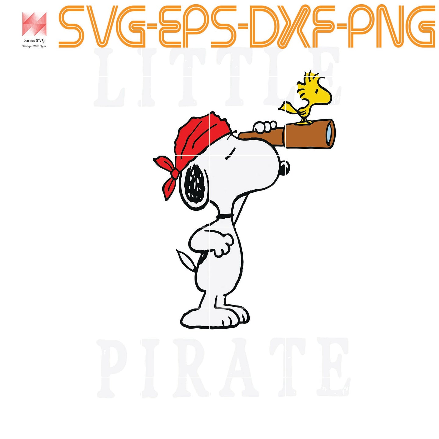 Peanuts Snoopy Little Pirate, quotes, svg file for Cricut, Cameo, svg, png, eps, dxf, digital download