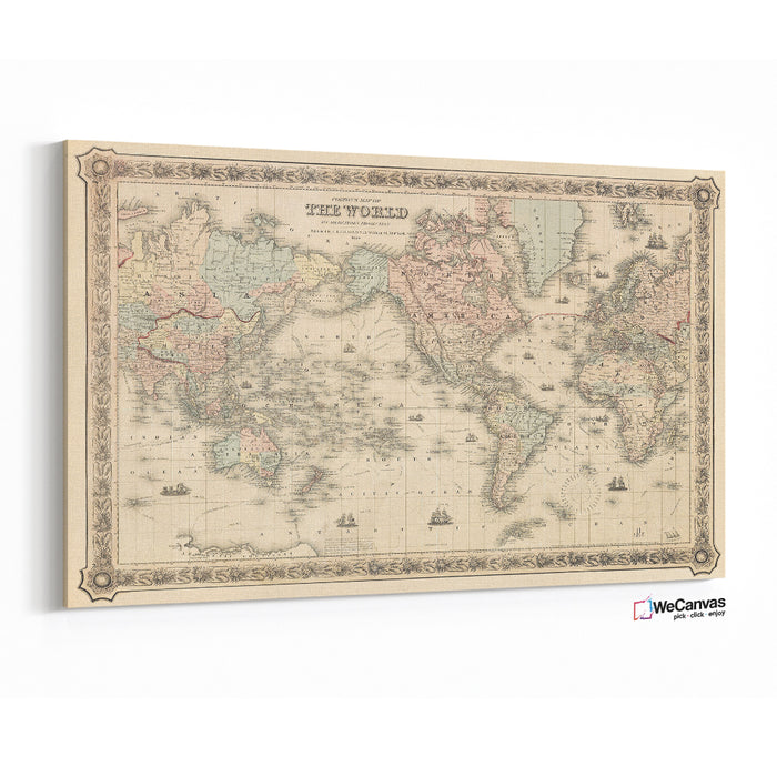 Colton's Map of the World on Mercator's Projection (1858) by J.H Colton & Co