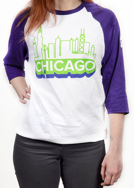 Gildan Heavy Cotton Raglan Chicago Vintage Tee