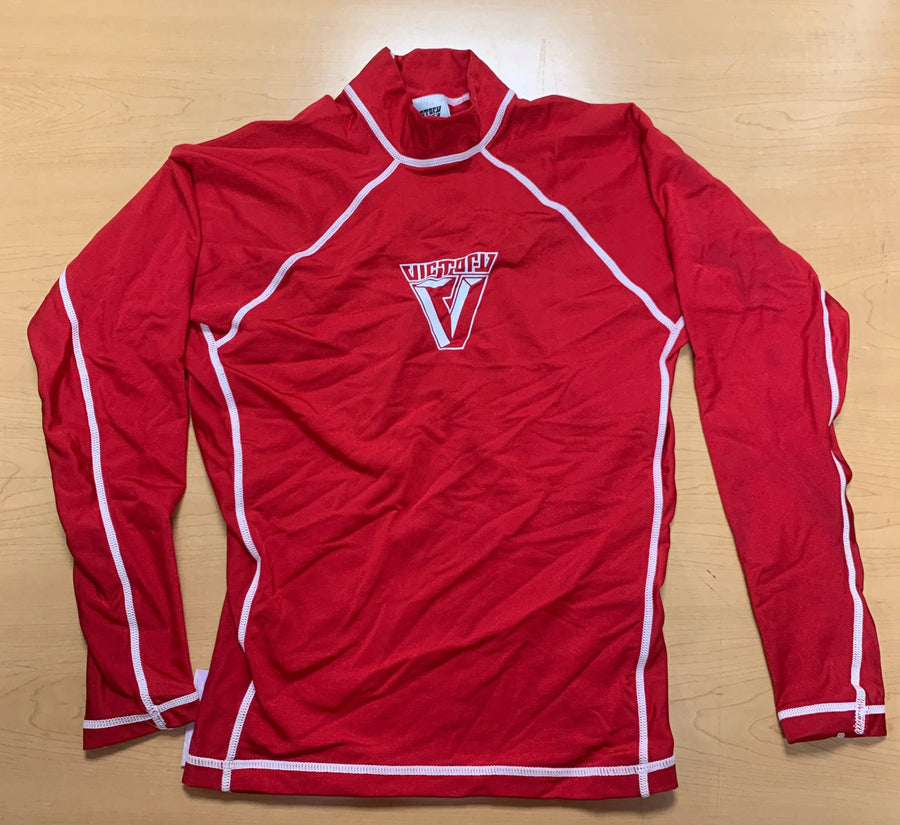 Victory Mens Small Long Sleeve Rashguard Red/ CLEARANCE