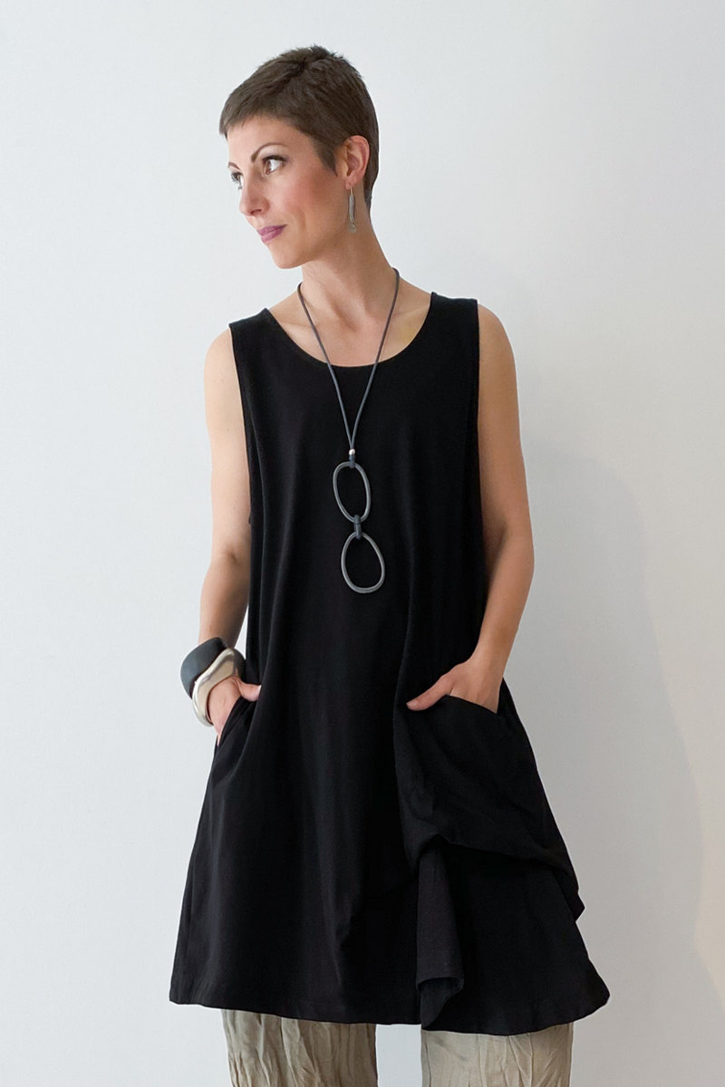 ALEMBIKA Talia Tunic in Black Jersey