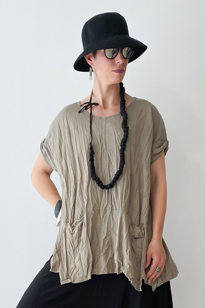 ALEMBIKA Twisted Top in Khaki Jersey