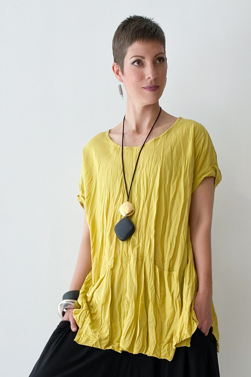 ALEMBIKA Twisted Top in Lemon Jersey