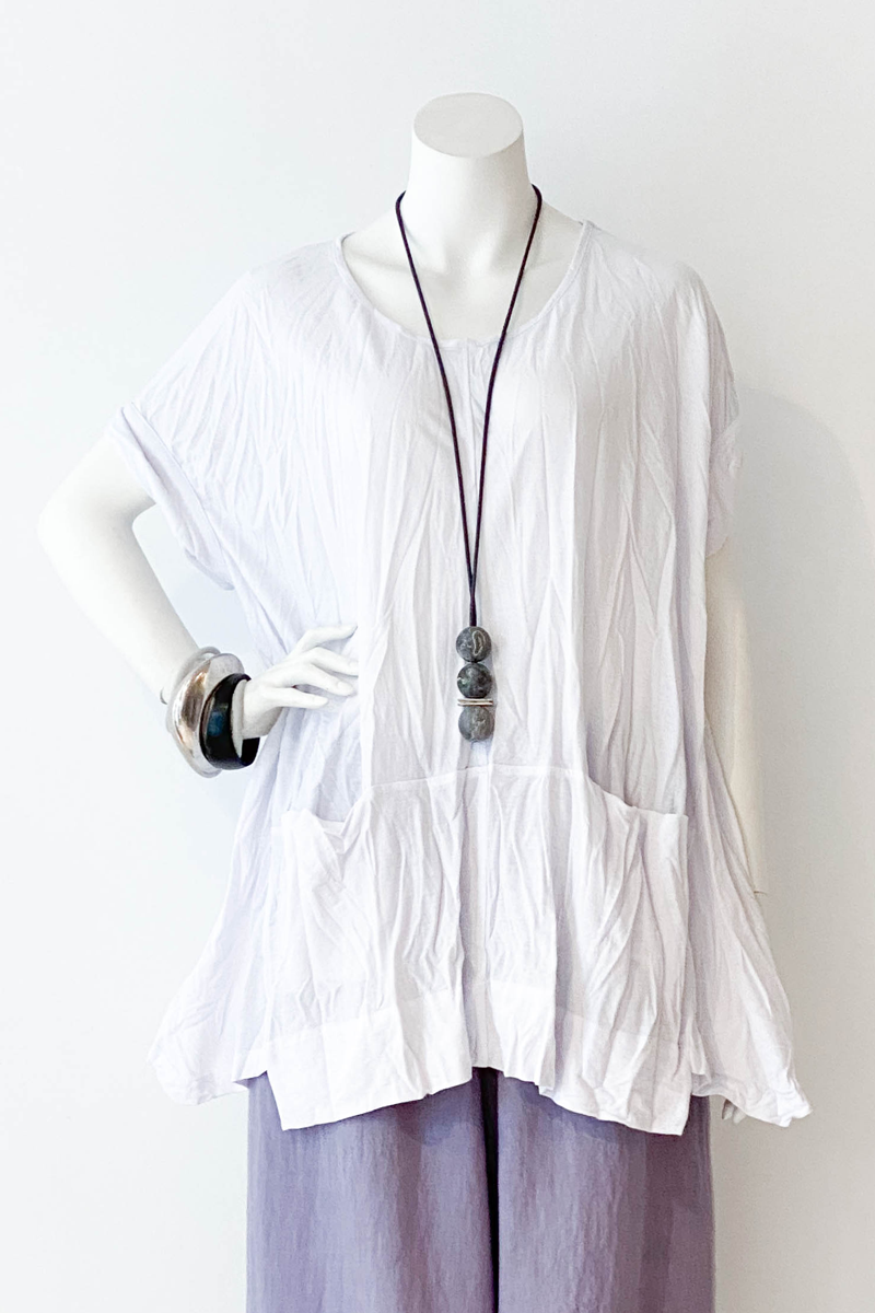 ALEMBIKA Twisted Top in White Jersey