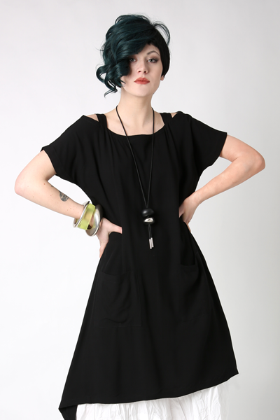 Wide Neck Tunic in Black Boston