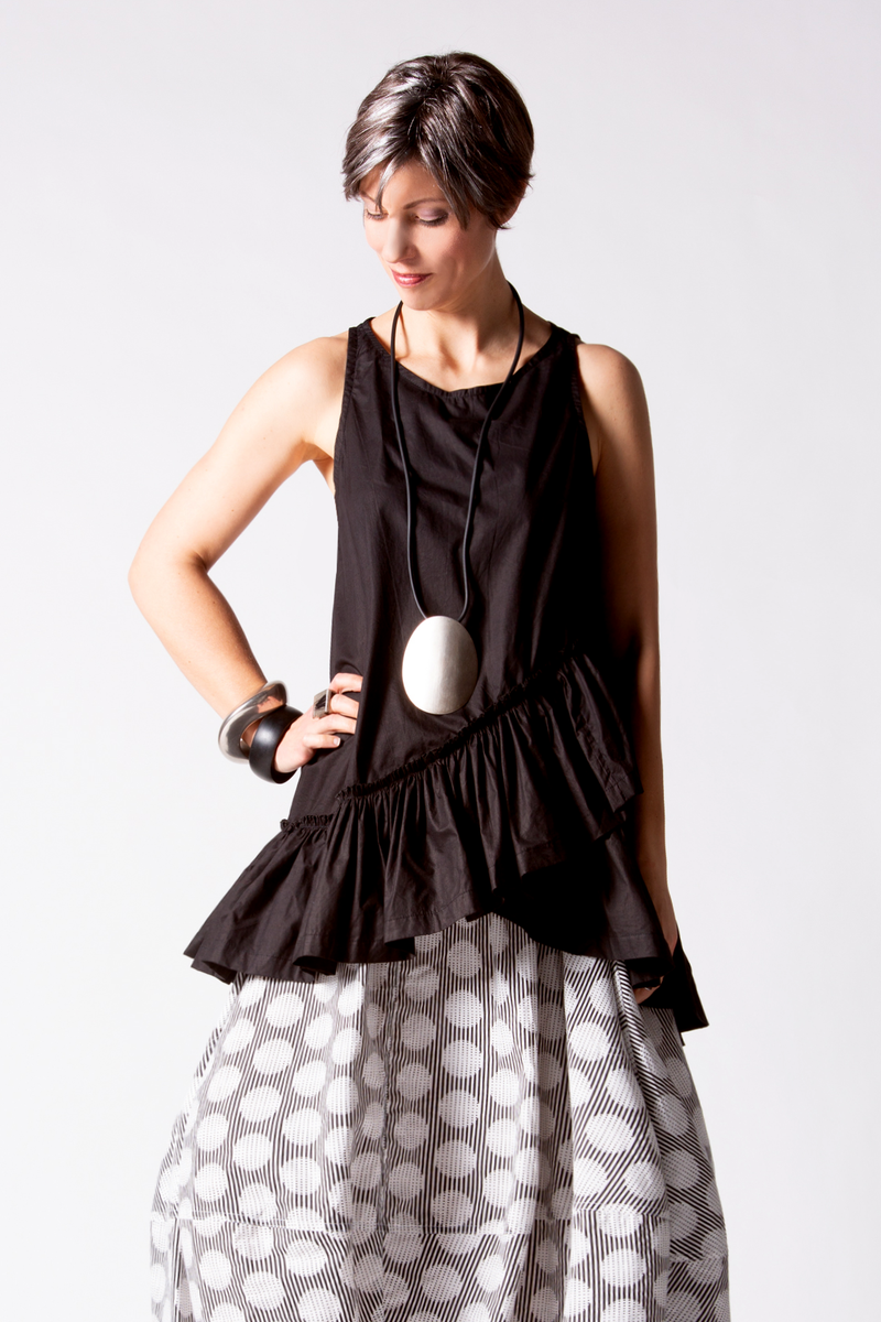 Ruffle Tank in Black Carnaby