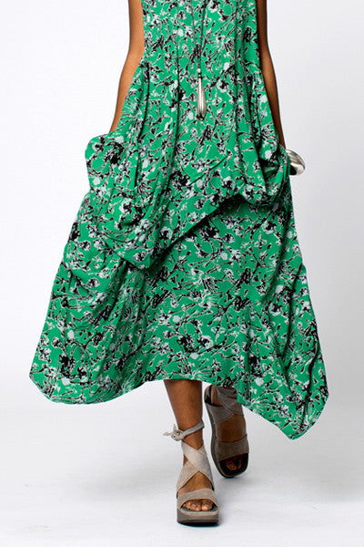 Odyssey Skirt in Green Borago Print Boston