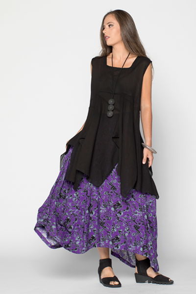 Odyssey Skirt in Purple Borago Print Boston