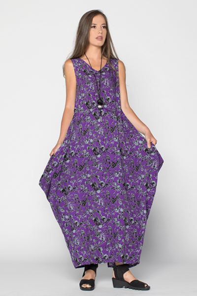 Diamond Dress in Purple Borago Print Boston