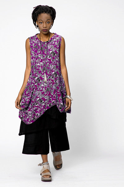 Meteor Tunic in Purple Borago Print Boston
