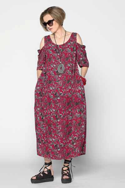 Cold Shoulder Acqua Dress in Red Borago Print Boston