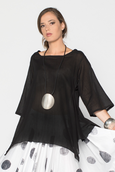 Susan Top in Black Cotton Delphi