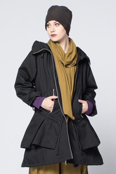 Aurora Coat in Black Canvas