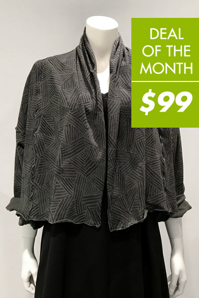 Lisbon Jacket in Charcoal Print Tokyo