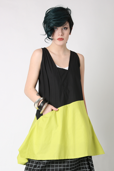 Sora Top in Citron/Black Combi Carnaby
