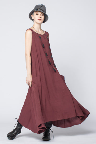 London Dress in Claret Papyrus