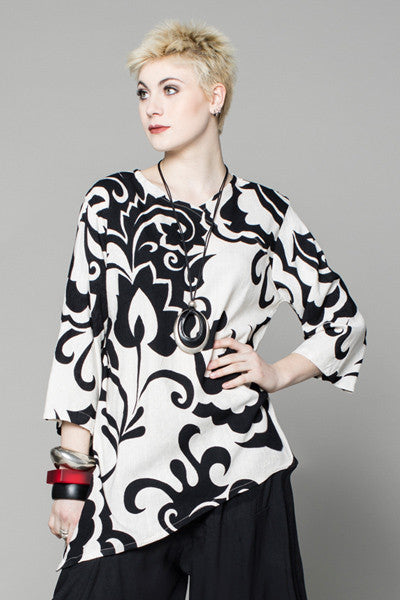 3/4 Peking Top in Echo Print Papyrus