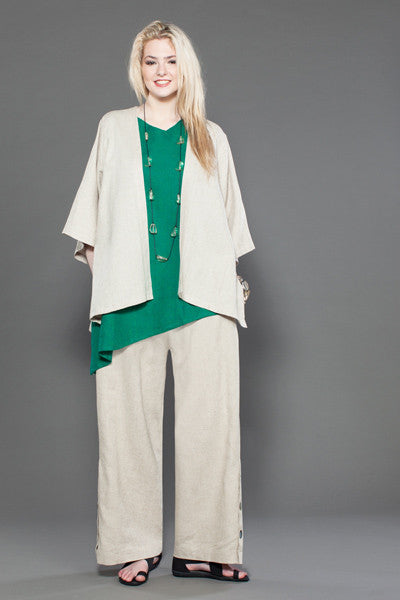 Shown w/ Button Palazzo Pant and Short Kimono Jacket