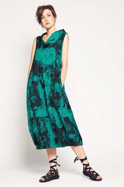 Verbena Dress in Emerald Print Carnaby