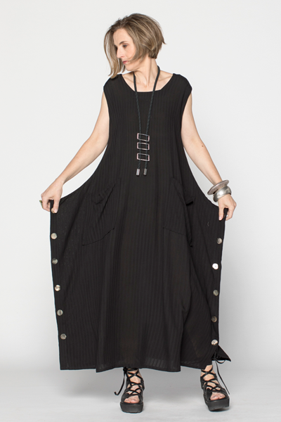 Square Dress in Black Fellini Crinkle