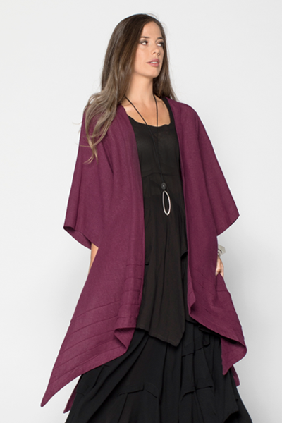 Stitch Long Kimono Jacket in Fig Roma