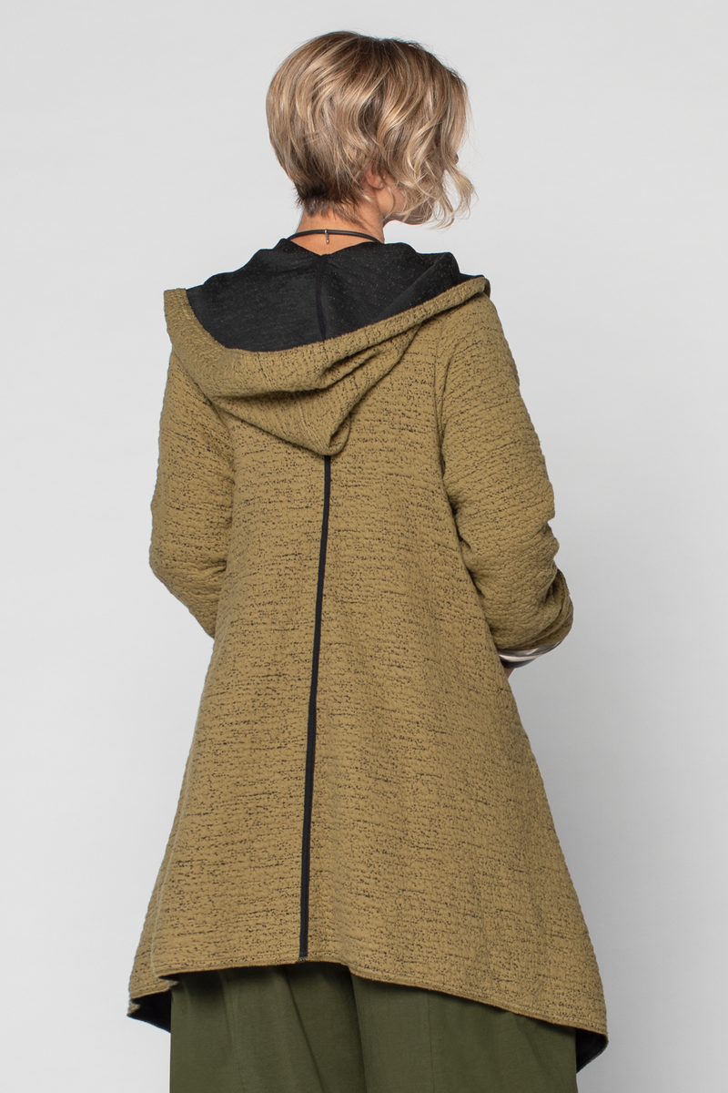 GERSHON BRAM Boucle Coat with Hood in Mustard
