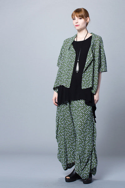 Modena Jacket in Green Dots Crinkle