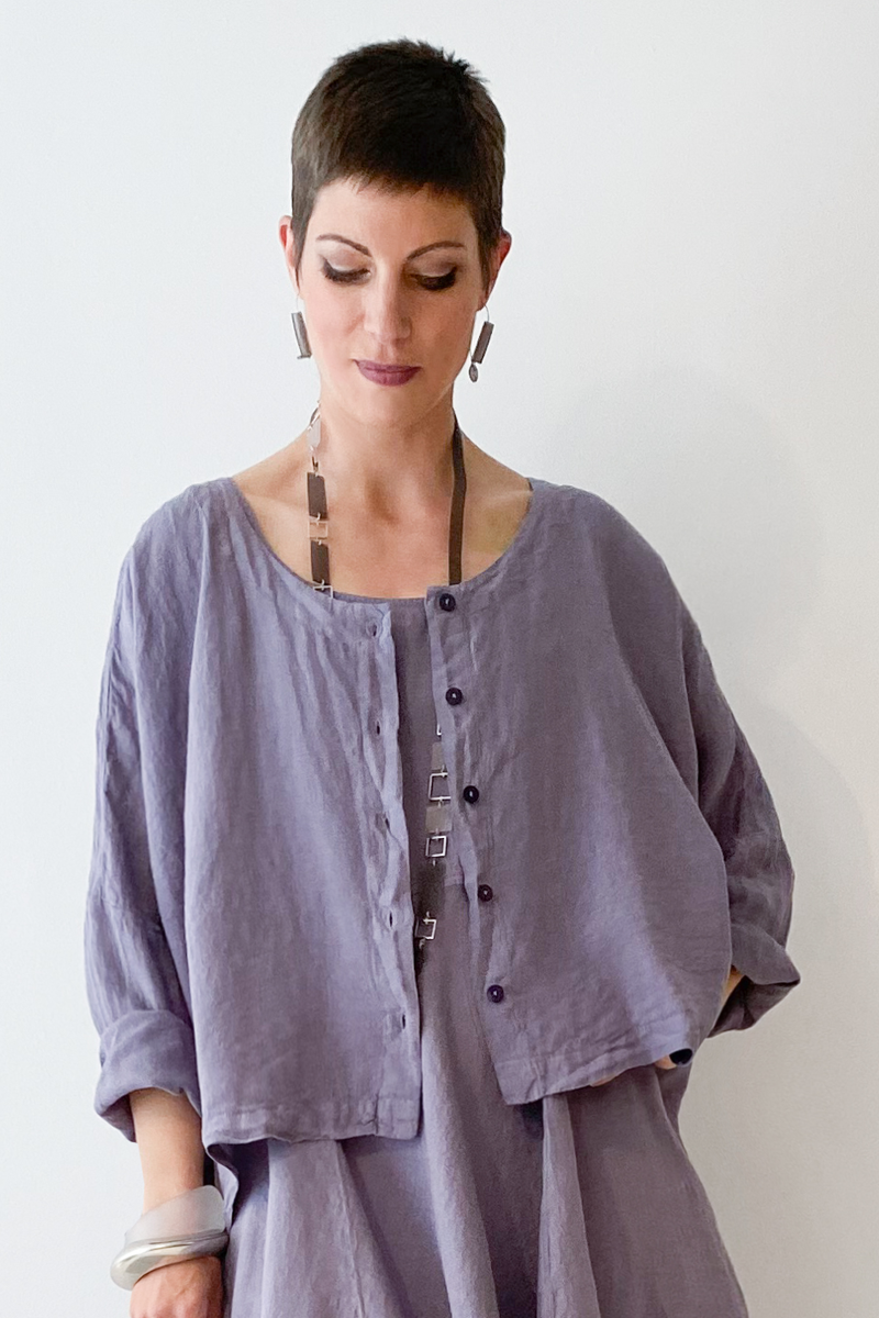 GRIZAS Crop Jacket in Mauve Linen