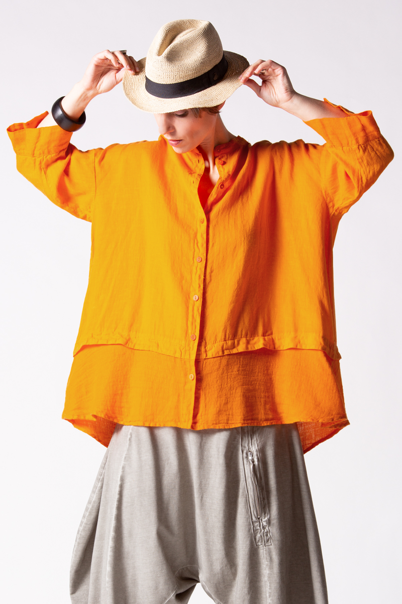 GRIZAS Button Up Shirt in Orange Linen