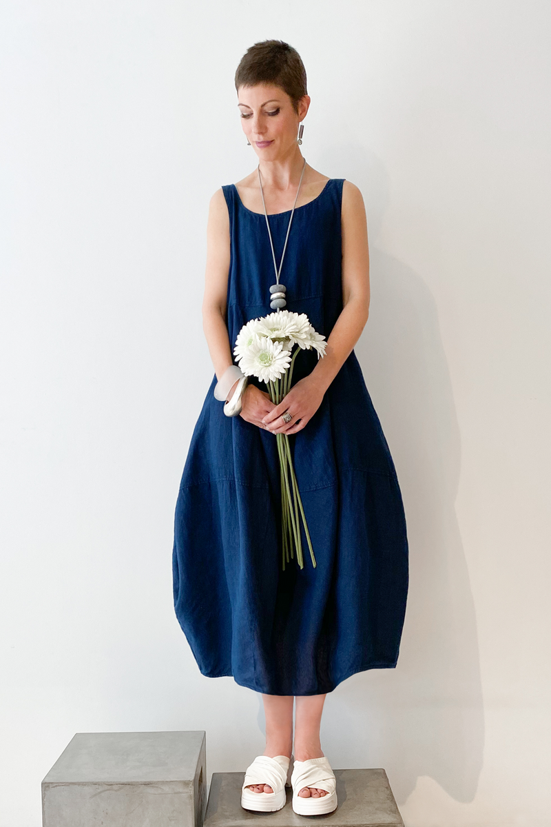 GRIZAS Palloncino Dress in Navy Linen
