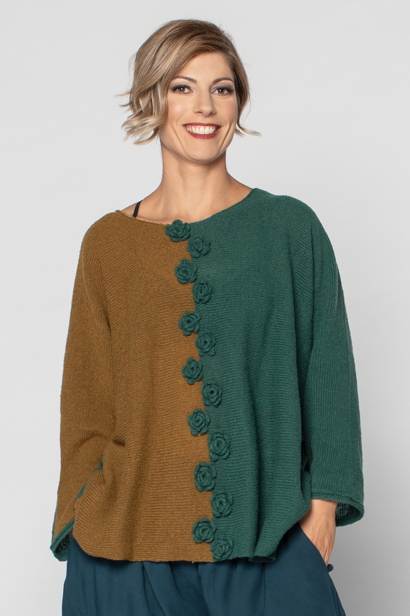 GRIZAS Rosette Sweater in Ocha/Emerald