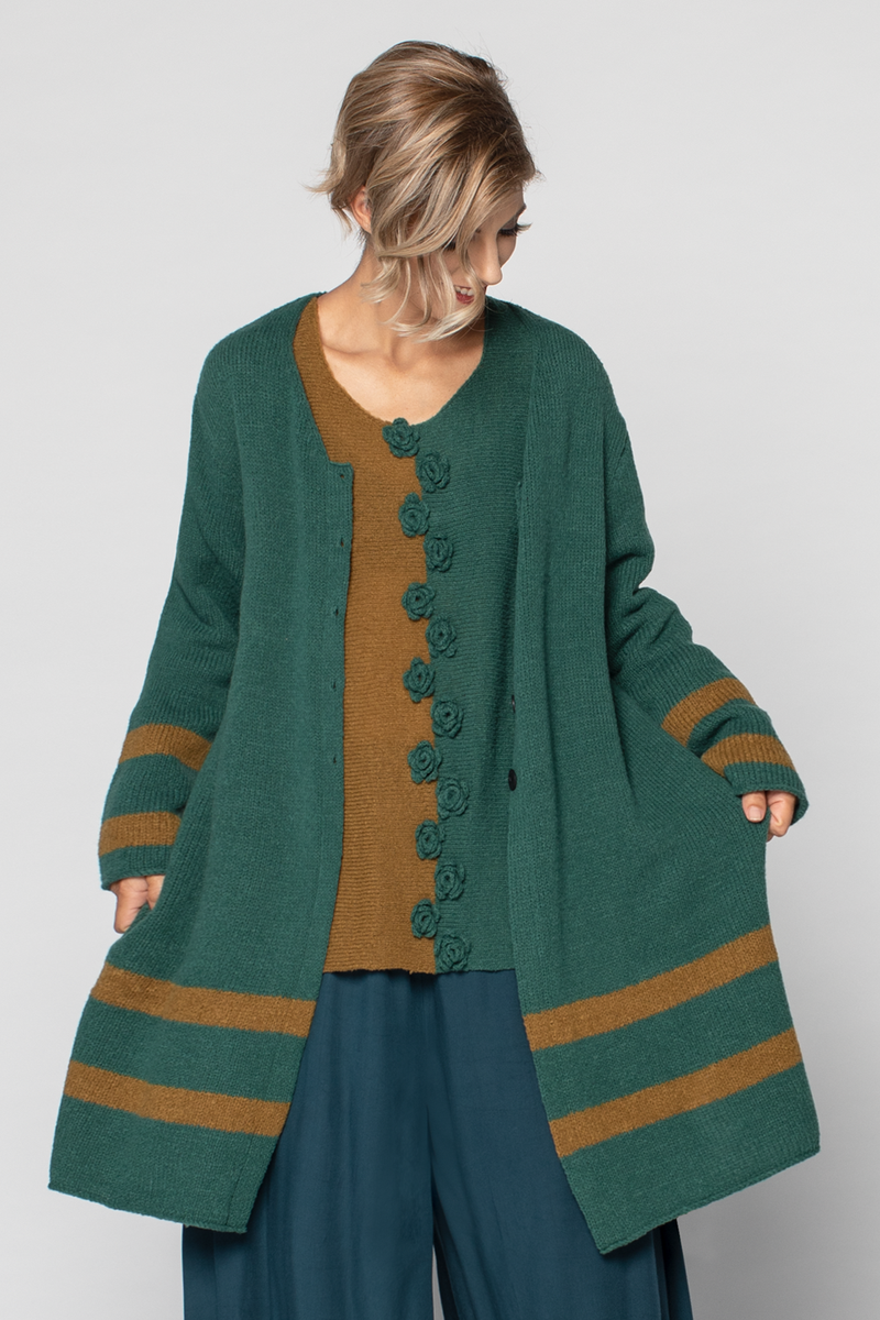 GRIZAS Stripe Cardigan in Ocha/Emerald