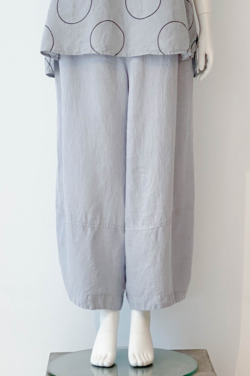 GRIZAS Simple Pant in Light Grey Linen