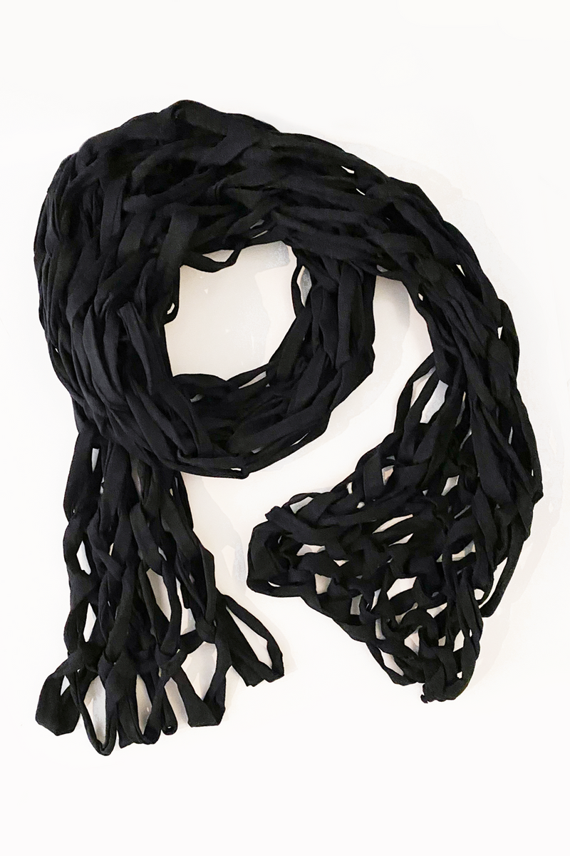 Braided Scarf in Black Jersey