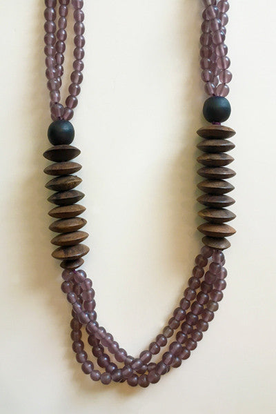 Tate Modern Necklace in Purple/Wood