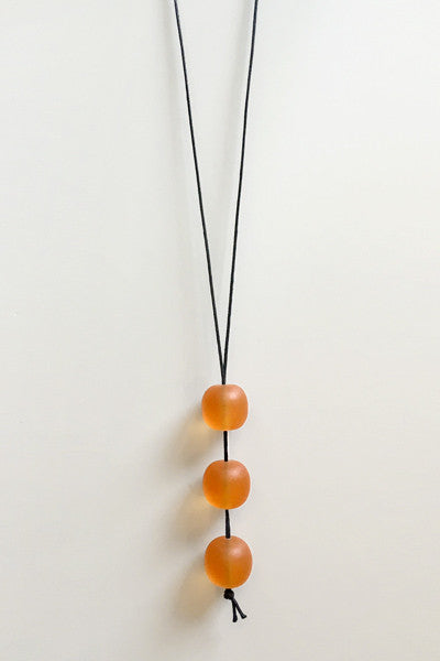 Vertical Three Necklace in Orange Resin