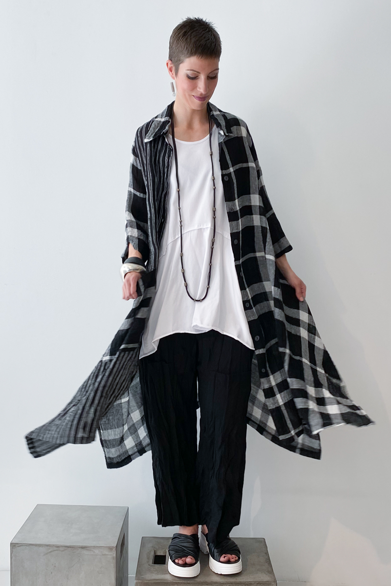 Shown w/ Plaid Long Coat and Twisted Pocket Pant