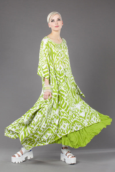 Jade Dress in Lime Ikat Delphi