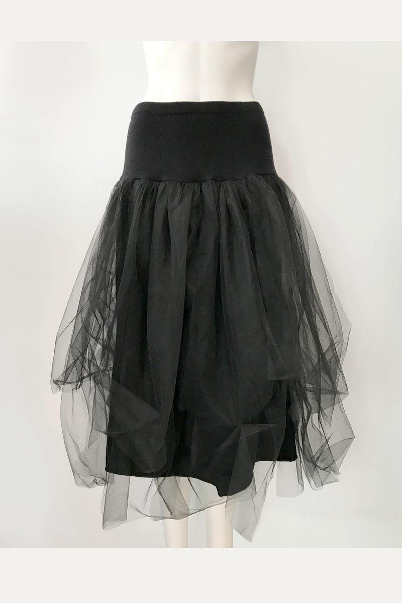 LUUKAA Jeanette Mesh Skirt in Black Mesh