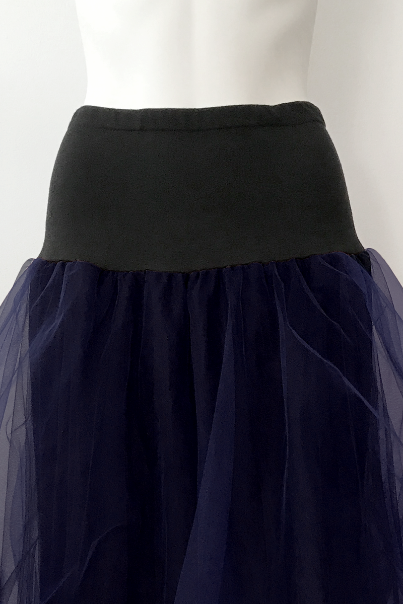 LUUKAA Lexa Mesh Skirt in Navy Mesh